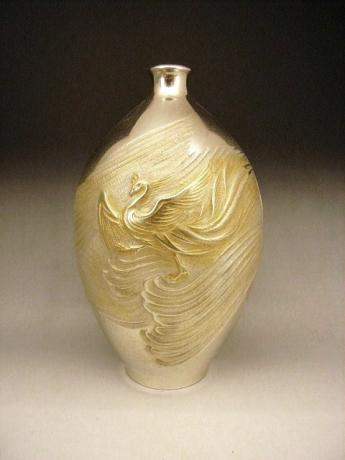 JAPANESE MID 20TH CENTURY PURE SILVER VASE BY KAWAMURA SEIJI<br><font color=red><b>SOLD</b></font>