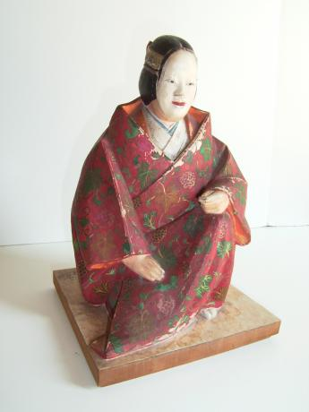 CARVED AND PAINTED WOODEN NOH FIGURE