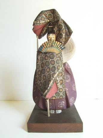 CARVED AND PAINTED WOODEN NOH DRAMA DANCER - OKINA<br><font color=red><b>SOLD</b></font>