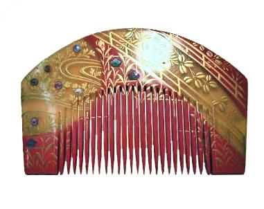 JAPANESE EARLY - MID SHOWA PERIOD CELLULOID INLAID COMB
