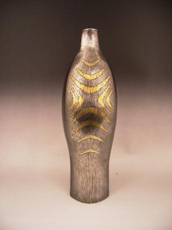 JAPANESE MID 20TH CENTURY IRON VASE WITH METAL INLAYS<br><font color=red><b>SOLD</b></font>