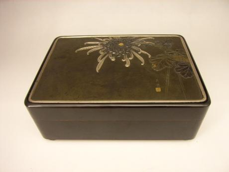 JAPANESE EARLY 20TH CENTURY LACQUER BOX WITH MIXED METAL TOP<br><font color=red><b>SOLD</b></font>
