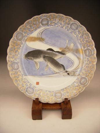 JAPANESE CIRCA 1900 BLUE & WHITE IMARI CHARGER WITH KOI DESIGN<br><font color=red><b>SOLD</b></font>
