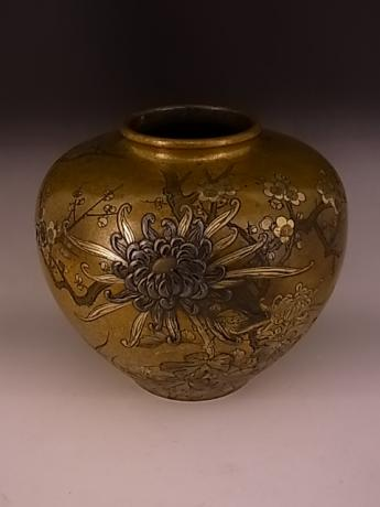 JAPANESE 1930'S BRONZE VASE WITH FLORAL DESIGN BY KOUMEI<br><font color=red><b>SOLD</b></font>