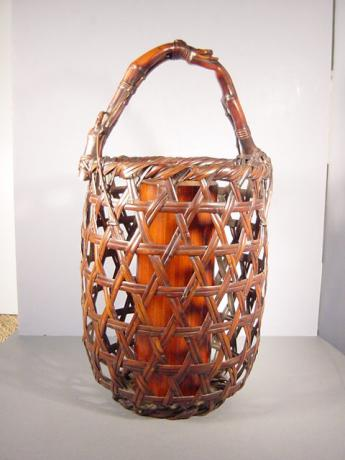 JAPANESE BAMBOO FLOWER BASKET <br><font color=red><b>SOLD</b></font>