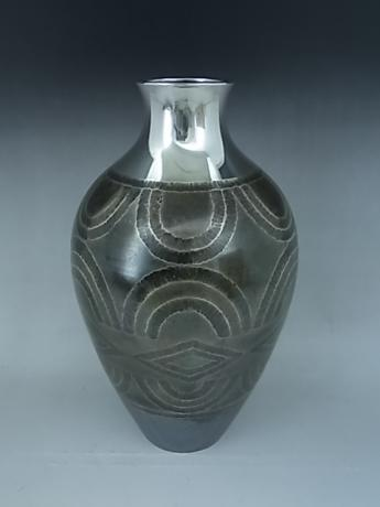 JAPANESE MID 20TH CENTURY PURE SILVER HAND HAMMERED VASE<br><font color=red><b>SOLD</b></font>