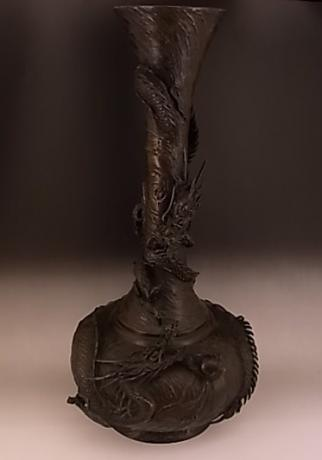 JAPANESE EARLY 20TH CENTURY BRONZE DRAGON VASE<br><font color=red><b>SOLD</b></font>