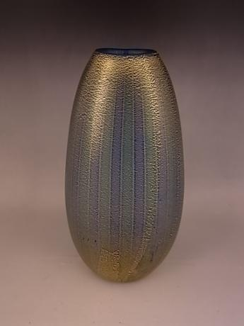 JAPANESE L 20TH/E 21ST CENTURY HAND BLOWN GLASS WITH BLUE, GREEN AND WHITE VERTICAL STRIPES<br><font color=red><b>SOLD</b></font>