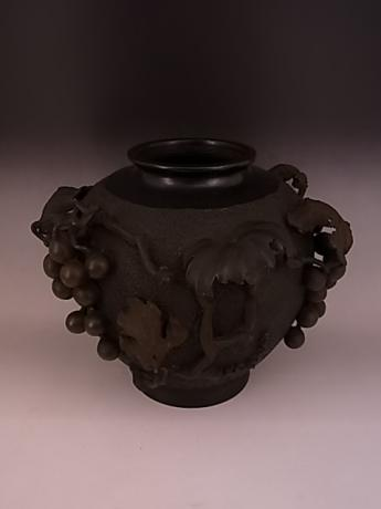 JAPANESE 1st HALF 20TH CENTURY BRONZE VASE WITH GRAPE DESIGN<br><font color=red><b>SOLD</b></font>