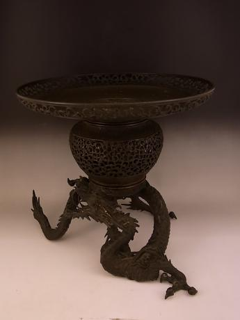 JAPANESE EARLY 20TH CENTURY BRONZE DRAGON DESIGN USUBATA<br><font color=red><b>SOLD</b></font>