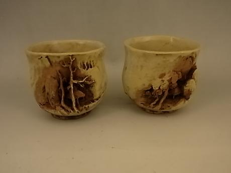 JAPANESE E. 20TH CENTURY SAKE CUPS BY SASAKI NIROKU<br><font color=red><b>SOLD</b></font>