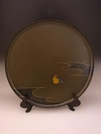 JAPANESE EARLY 20TH CENTURY LACQUER TRAY WITH PAIR OF RABBITS<br><font color=red><b>SOLD</b></font>