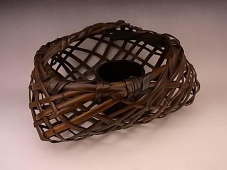 JAPANESE 20TH CENTURY BAMBOO FLOWER BASKET BY TANABE CHIKUUNSAI II<br><font color=red><b>SOLD</b></font>