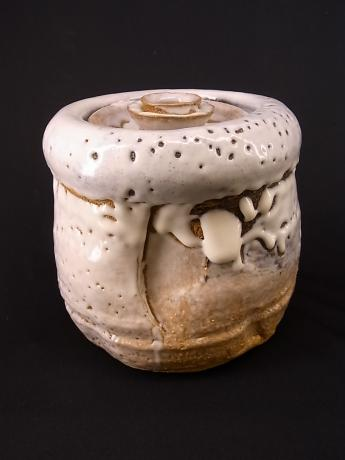 JAPANESE 20TH CENTURY HAGI WARE MIZUSASHI WITH TOMOBAKO <br><font color=red><b>SOLD</b></font>
