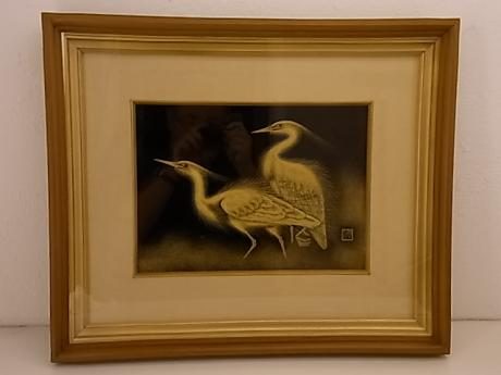 JAPANESE MID 20TH CENTURY FRAMED LACQUER PICTURE OF PAIR OF EGRETS BY KONISHI KEISUKE<br><font color=red><b>SOLD</b></font>