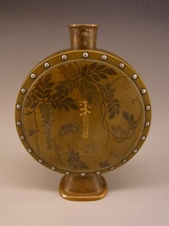 JAPANESE MEIJI PERIOD BRONZE DRUM SHAPED SMALL VASE WITH MIXED METALS DESIGN BY NOGAWA COMPANY OF KYOTO<br><font color=red><b>SOLD</b></font>