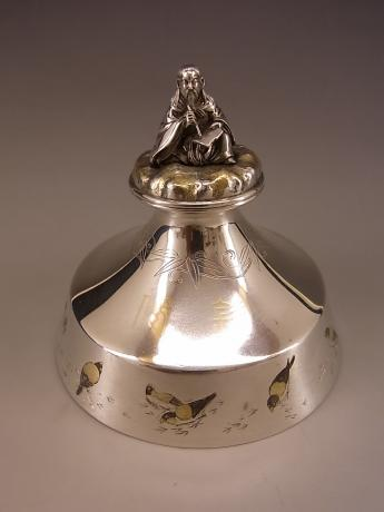 JAPANESE MEIJI PERIOD STERLING SILVER INK WELL<br><font color=red><b>SOLD</b></font>