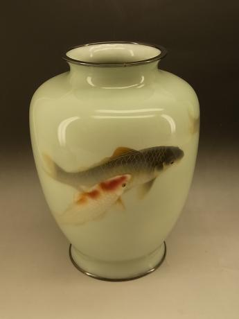JAPANESE EARLY 20TH CENTURY ANDO KOI DESIGN CLOISONNE VASE<br><font color=red><b>SOLD</b></font>