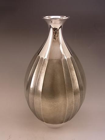 JAPANESE EARLY 20TH CENTURY HAND HAMMERED PURE SILVER VASE<br><font color=red><b>SOLD</b></font>