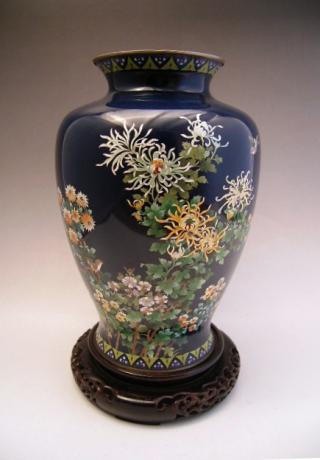 EARLY 20TH CENTURY CLOISONNE VASE WITH BIRD AND CHRYSANTHEMUMS<br><font color=red><b>SOLD</b></font>
