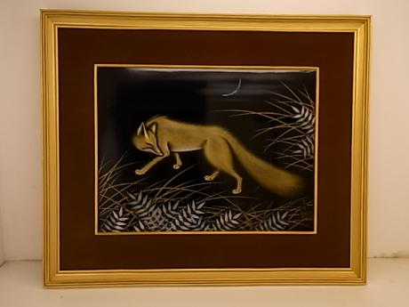 JAPANESE MID 20TH CENTURY LACQUER PICTURE OF GOLD FOX AT NIGHT<br><font color=red><b>SOLD</b></font>