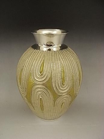 JAPANESE EARLY - MID 20TH CENTURY HAND HAMMERED SILVER VASE<br><font color=red><b>SOLD</b></font>