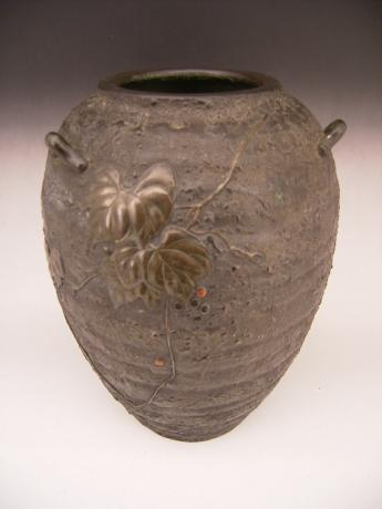 JAPANESE EARLY 20TH CENTURY BRONZE VASE WITH IVY DESIGN<br><font color=red><b>SOLD</b></font>