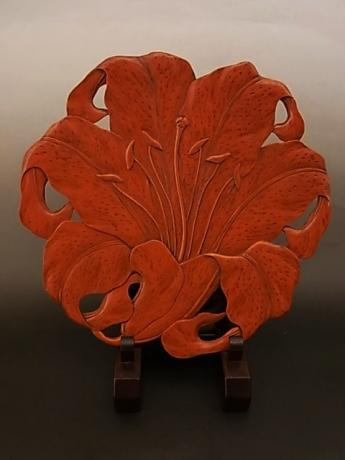 JAPANESE 20TH CENTURY LACQUER KAMAKURA-BORI TEA TRAY<br><font color=red><b>SOLD</b></font>