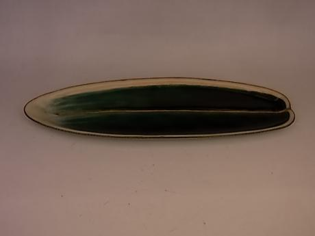 JAPANESE E.- Mid 20TH C CLOISONNE BAMBOO SHAPED PLATE BY ANDO JUBEI<br><font color=red><b>SOLD</b></font>