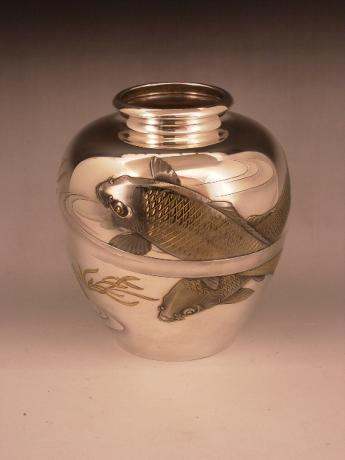 JAPANESE 20TH CENTURY PURE SILVER KOI DESIGN VASE<br><font color=red><b>SOLD</b></font>