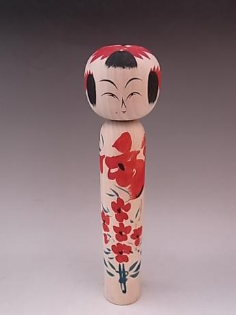 JAPANESE L. 20TH CENTURY MEDIUM LARGE WOODEN KOKESHI<br><font color=red><b>SOLD</b></font>
