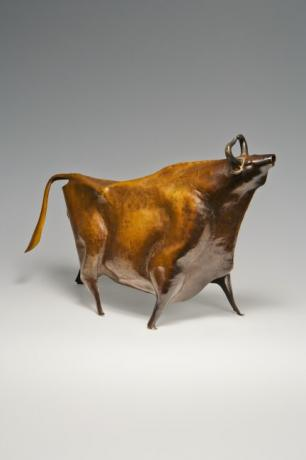 JAPANESE MID 20TH CENTURY HAND-HAMMERED BRONZE BULL BY KATO SOUGAN<br><font color=red><b>SOLD</b></font>