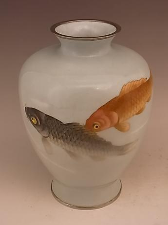 JAPANESE EARLY TO MID 20TH CENTURY CLOISONNE VASE WITH KOI DESIGN<br><font color=red><b>SOLD</b></font>