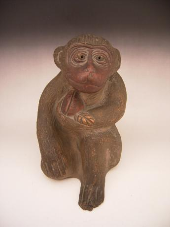 JAPANESE CIRCA 1900 EARTHENWARE MONKEY OKIMONO<br><font color=red><b>SOLD</b></font>
