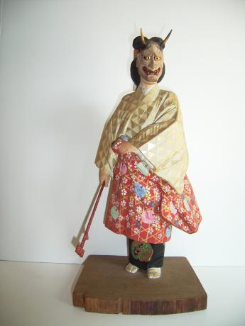 CARVED AND PAINTED WOODEN NOH DRAMA DANCER <br><font color=red><b>SOLD</b></font>