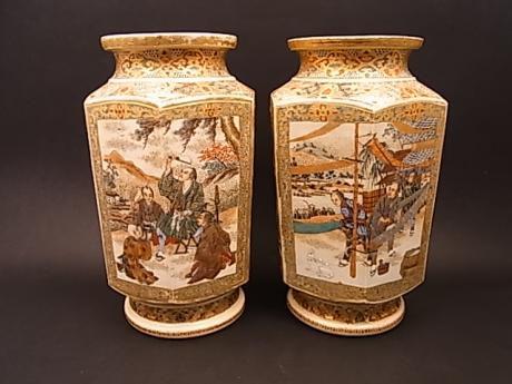 JAPANESE EARLY 20TH CENTURY PAIR OF HEXAGONAL SATSUMA VASES<br><font color=red><b>SOLD</b></font>