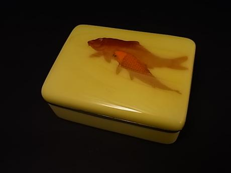 JAPANESE EARLY 20TH CENTURY CLOISONNE BOX WITH KOI DESIGN<br><font color=red><b>SOLD</b></font>