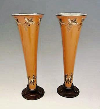 JAPANESE EARLY 20TH CENTURY PAIR OF CLOISONNE VASE BY ANDO