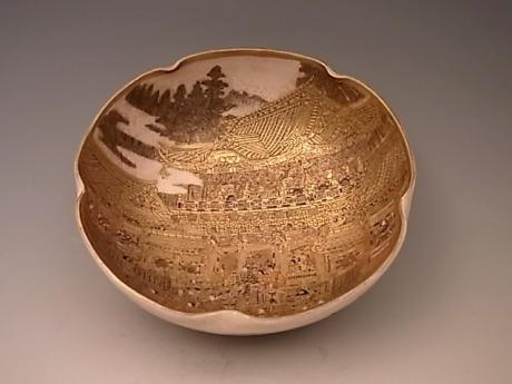 JAPANESE EARLY 20TH CENTURY SATSUMA BOWL WITH DESIGN OF TOSHOGU SHRINE, NIKKO, JAPAN<br><font color=red><b>SOLD</b></font>
