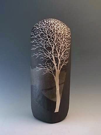 JAPANESE LATE 20TH CENTURY CERAMIC VASE BY SAEKI MORIYOSHI