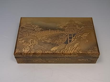 JAPANESE EARLY 20TH CENTURY LACQUER BOX WITH 2 SMALL INNER BOXES<br><font color=red><b>SOLD</b></font>