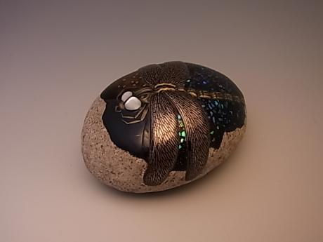 JAPANESE 21ST C. LACQUERED AND SHELL INLAID ROCK PAPERWEIGHT BY OKADA SHIHOH<br><font color=red><b>SOLD</b></font>