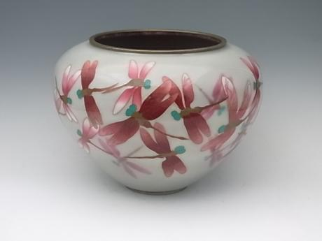 JAPANESE 20TH CENTURY DRAGONFLY CLOISONNE VASE BY TAMURA<br><font color=red><b>SOLD</b></font>