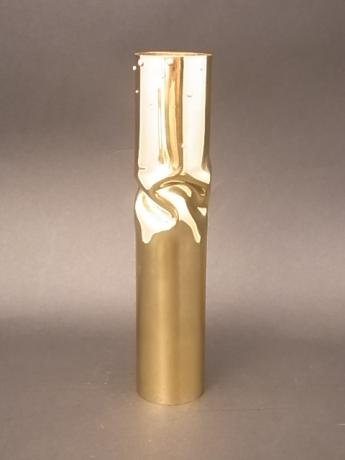 JAPANESE YELLOW BRONZE CYLINDRICAL VASE BY LNT NAKAGAWA MAMORU<br><font color=red><b>SOLD</b></font>