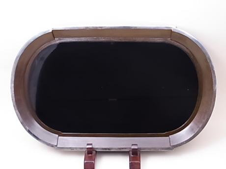 JAPANESE EARLY 20TH CENTURY ART DECO DESIGN LACQUER TRAY WITH SHIBUICHI RIM