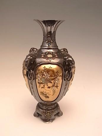 JAPANESE MEIJI PERIOD PURE SILVER AND LACQUER SHIBAYAMA VASE<br><font color=red><b>SOLD</b></font>