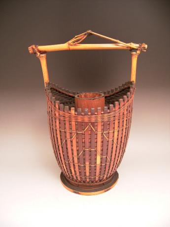 JAPANESE 20TH CENTURY BAMBOO BASKET BY KADOTA JIKOU<br><font color=red><b>SOLD</b></font>