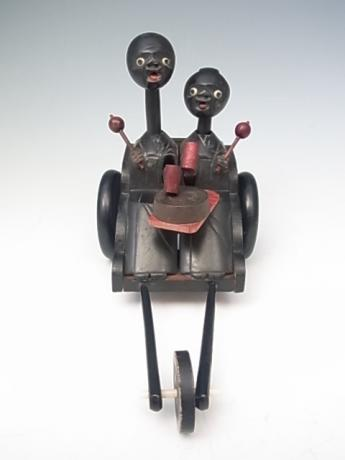 JAPANESE CIRCA 1900 KOBE TOY OF PAIR RIDING A RICKSHAW<br><font color=red><b>SOLD</b></font>
