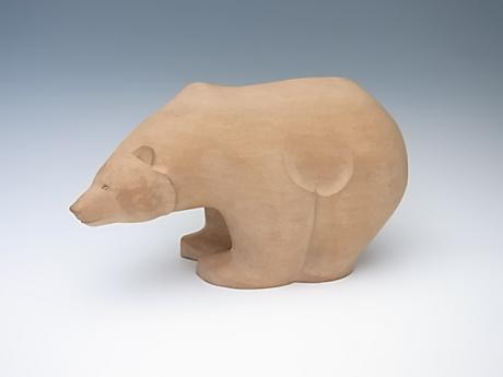 JAPANESE 20TH CENTURY HAND CARVED WOODEN POLAR BEAR<br><font color=red><b>SOLD</b></font>