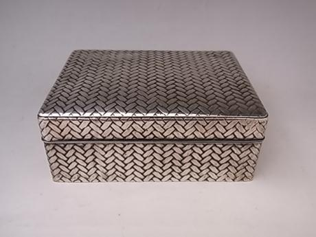 JAPANESE EARLY 20TH CENTURY SILVER BOX WITH WOVEN DESIGN